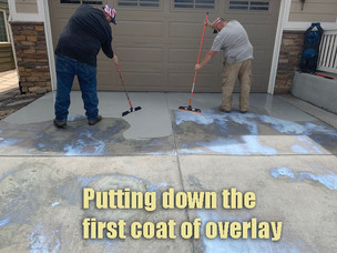Putting down the first coat of overlay