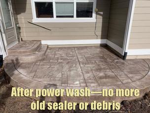 After power wash—no more old sealer or debris
