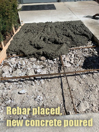Rebar placed, new concrete poured