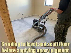 Grinding to level and scuff before adding epoxy pigment