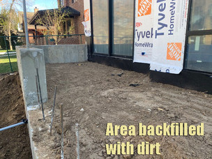 Area backfilled with dirt