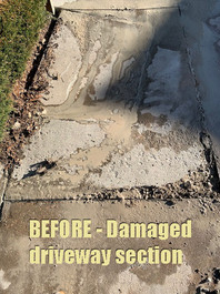 BEFORE - Damaged driveway section