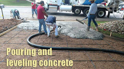 Pouring and leveling concrete