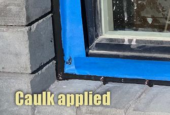 Caulk applied