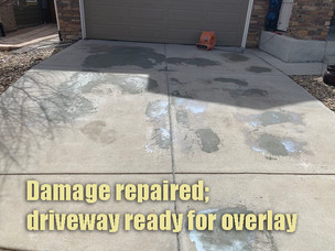 Damage repaired; driveway ready for overlay