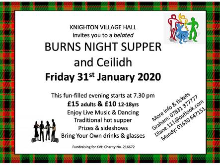 Burns Night Supper - 31st Jan 2020 @ 7:30PM