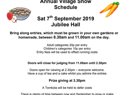 Annual Village Show - 7th Sept From 8:30AM