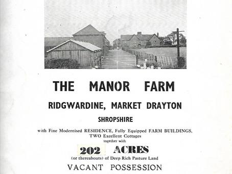 Sale particulars for The Manor Farm, Ridgewardine, 1958
