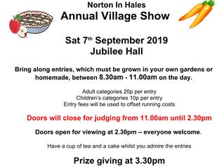 Annual Village Show - 7th Sept @ 8:30AM