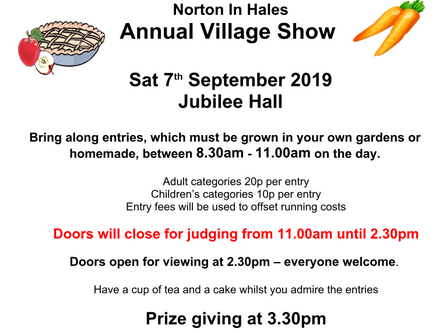 Annual Village Show - 7th Sept @ 8:30AM