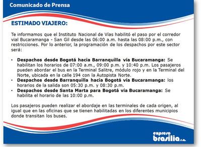 Habilitación vía Bucaramanga - San Gil