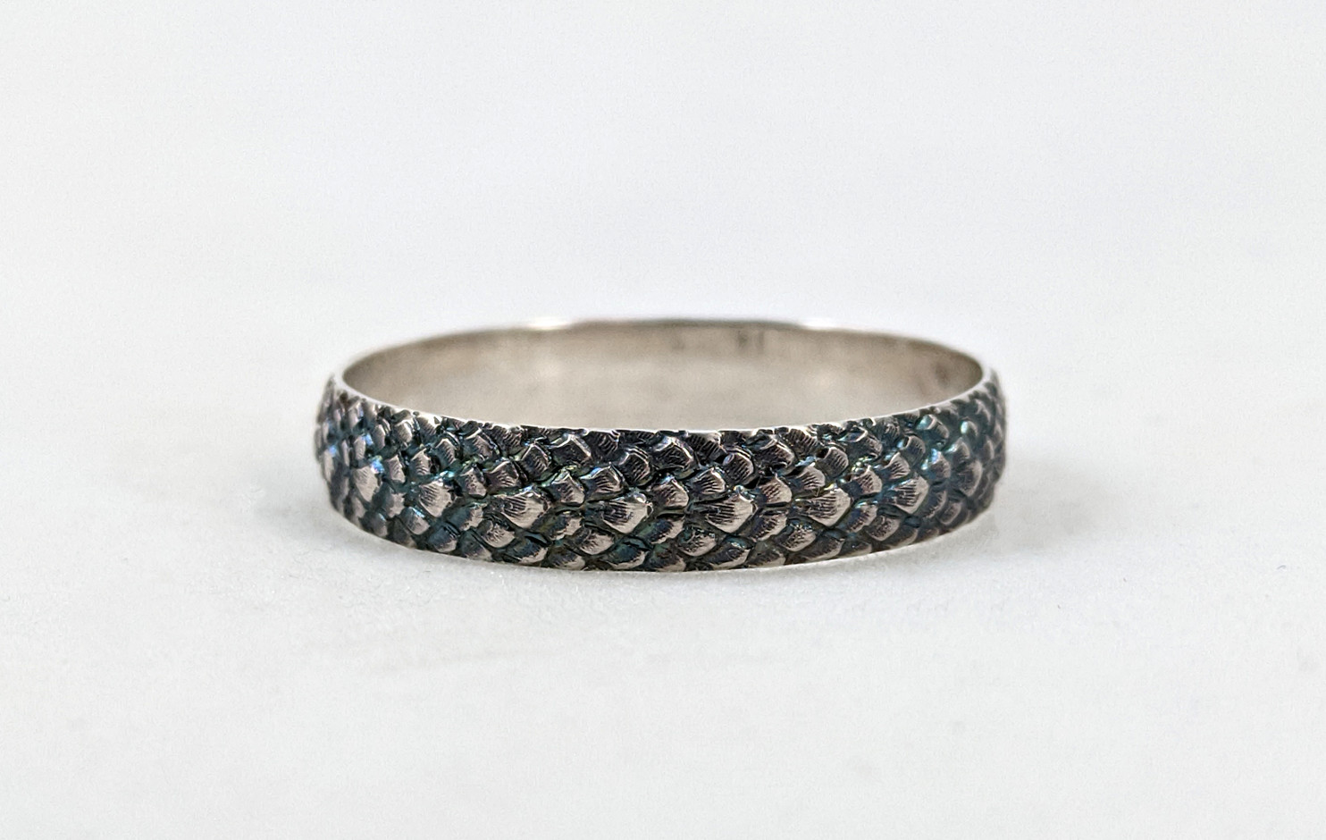 Dragonscale Patinaed Sterling Band