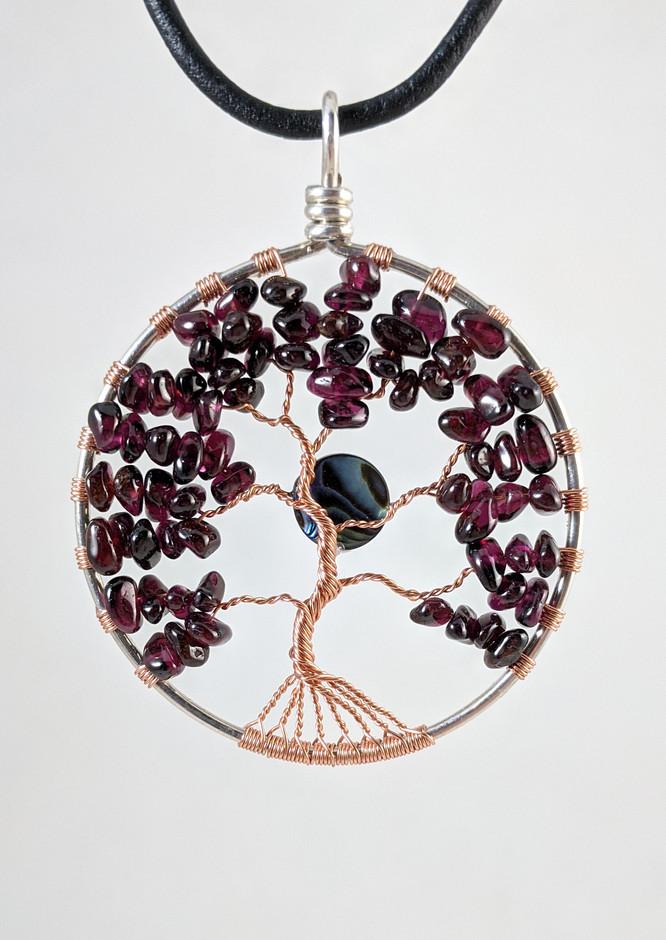 Sterling Copper Garnet Tree-of-Life Pendant