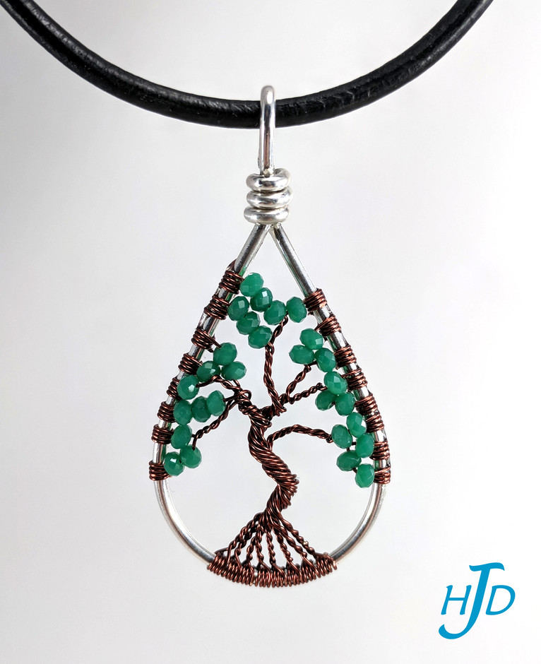 Green Glass and Brown Teardrop Sterling Tree-of-Life Necklace, 2017