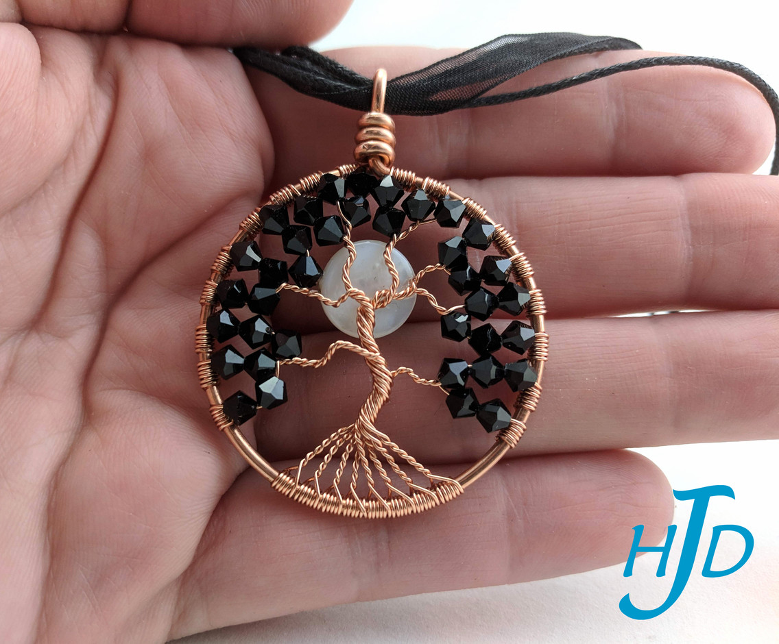 Black Swarovski Crystal and Copper Wire Round Tree-of-Life Necklace with White Shell Moon, 2019