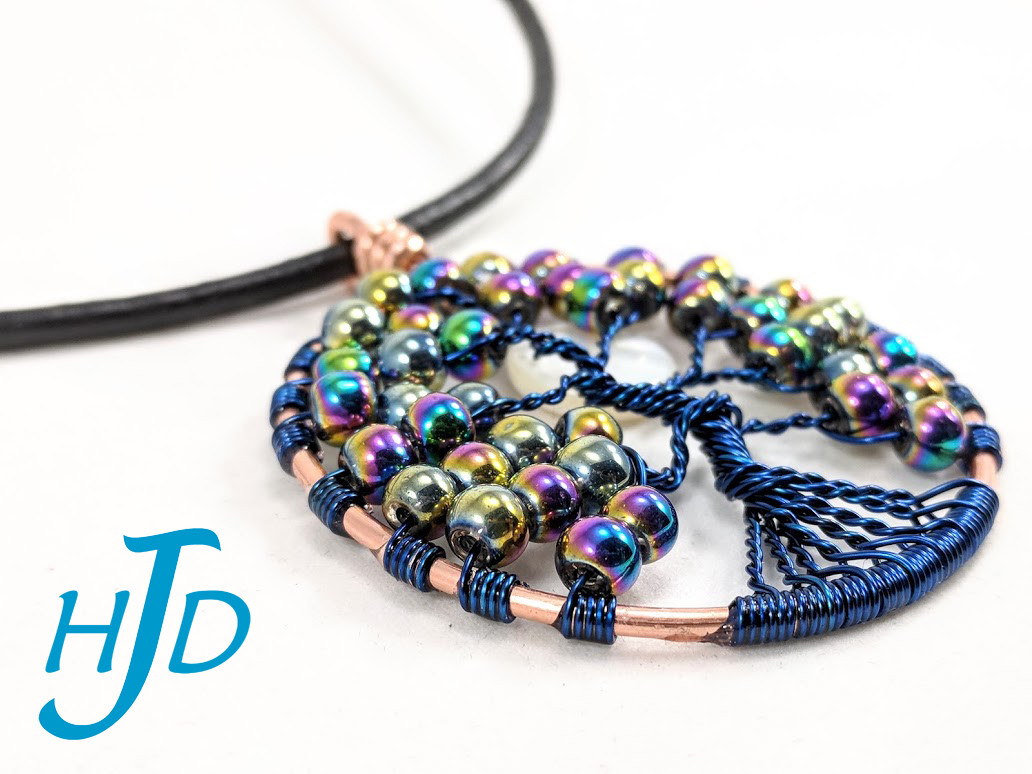 Large Rainbow Glass and Blue Copper Round Tree-of-Life Necklace with White Shell Moon, 2018