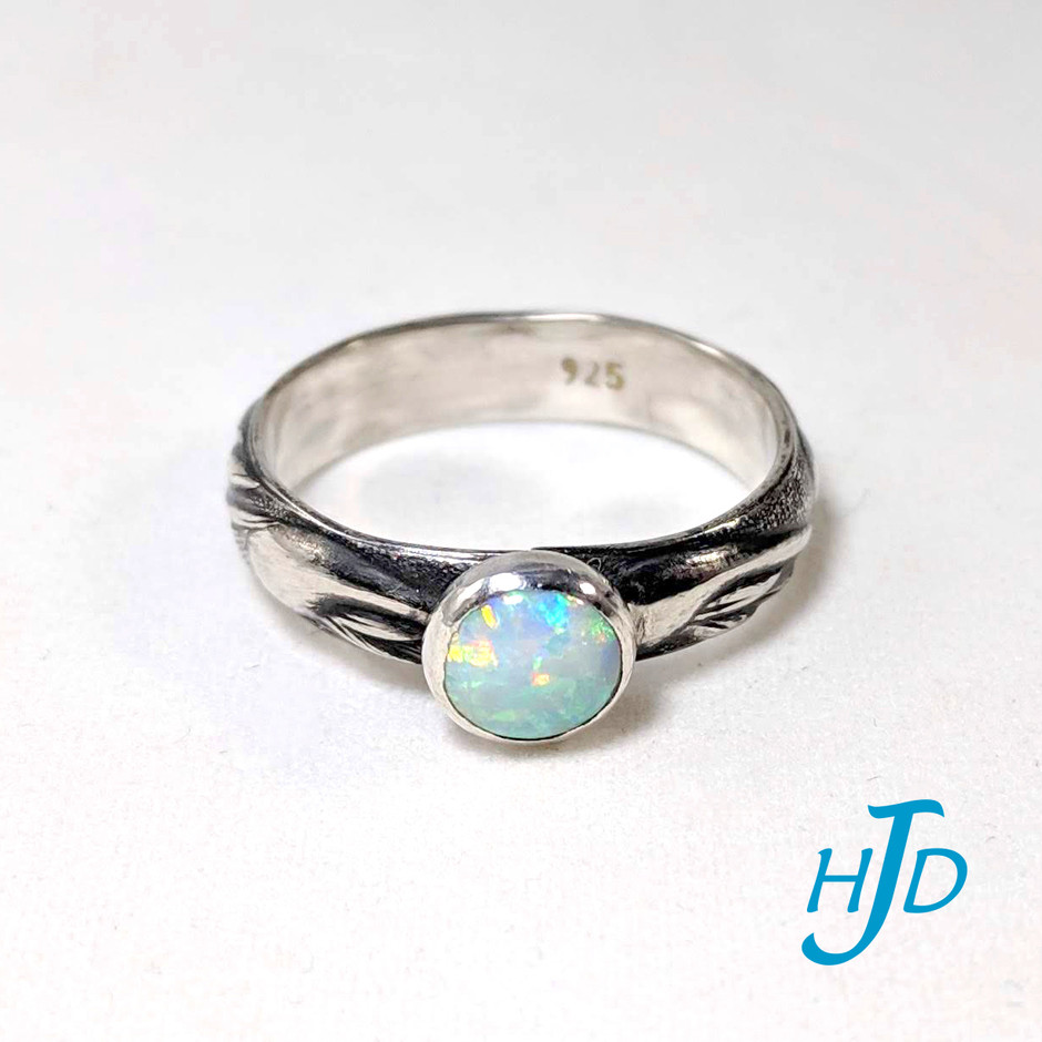 6mm Bezel-Set Opal with Wavy-Patterned and Patinaed Sterling Ring, 2019