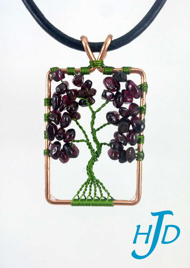 Garnet and Lime Green Copper Rectangular Tree-of-Life Necklace, 2017