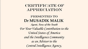 Did CIA issue Certificate of Appreciation to PMLN's Musadik Malik?