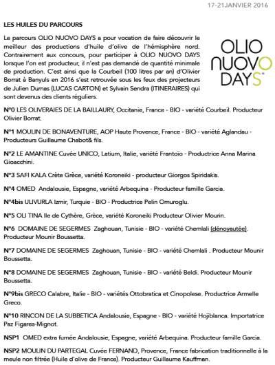 The Olive Oils that were selected for the Olio Nuovo Days