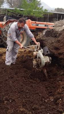 Crushing the organic manure from my farm animals