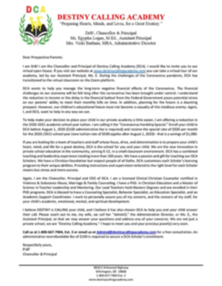 Prospective Letter from DrB - for websit