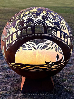 Venice Italy FIre Pit Sphere - Curves an