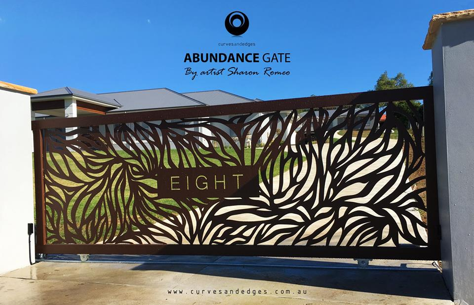 Abundance Gate in Corten Powdercoat