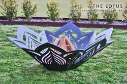 Lotus Flower fire Pit, Artist Sharon Romeo Curves and Edges Metal Art7