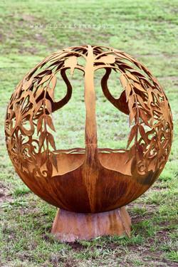 cherish fire pit sphere metal art flamin
