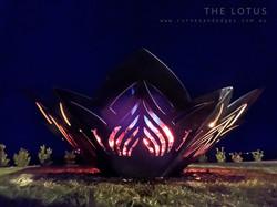 Lotus Flower fire Pit, Artist Sharon Romeo Curves and Edges Metal Art8