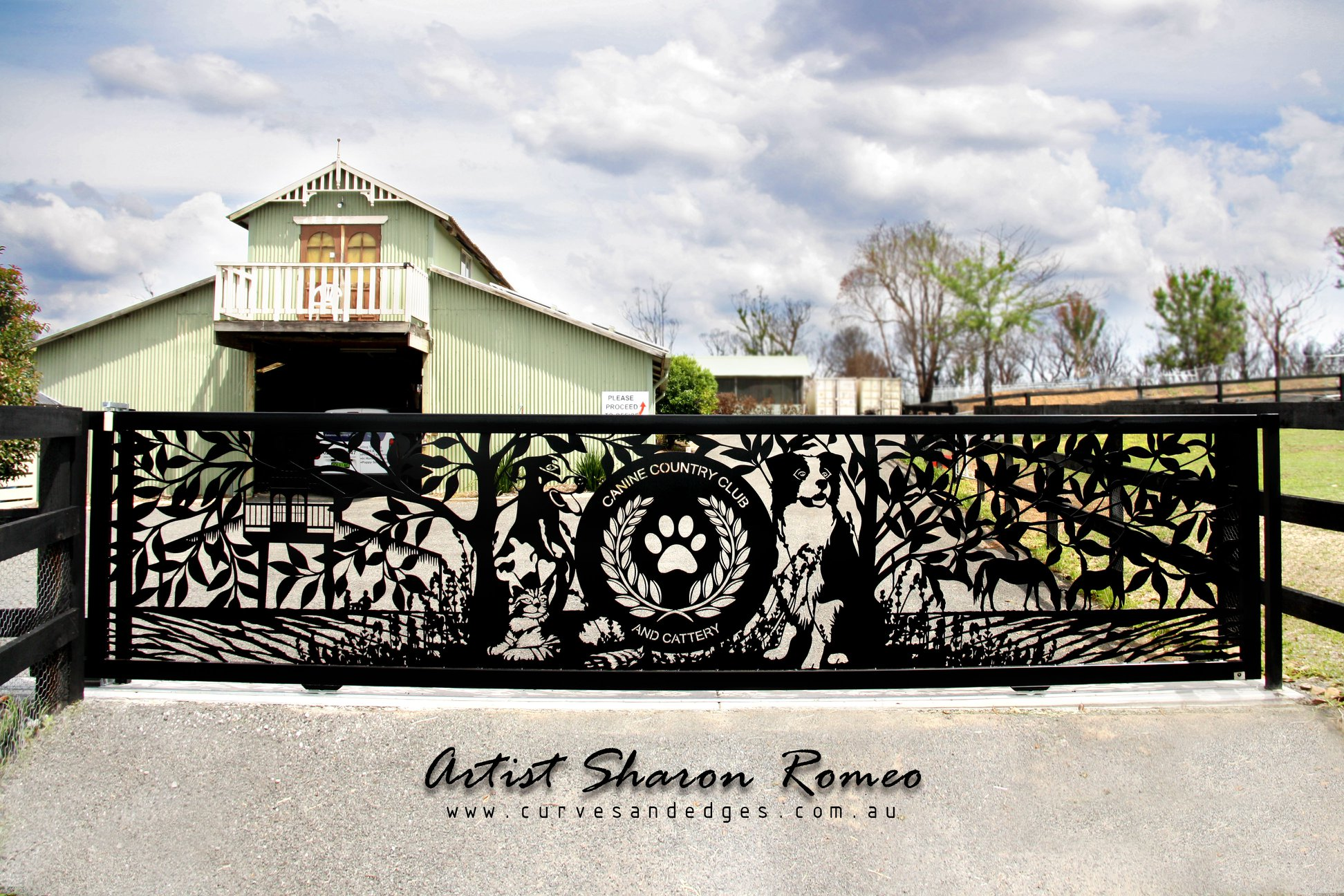 Canine Country Club Automatic Gate Art