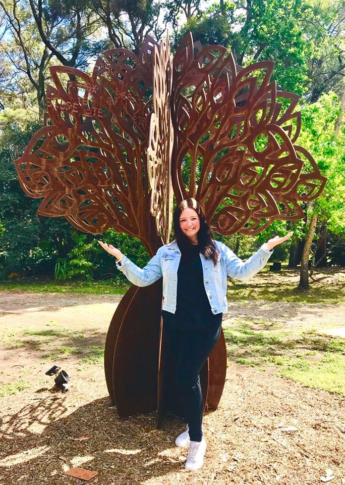 Artist Sharon Romeo with The Tree Of Lif