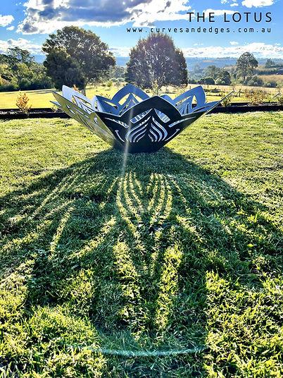 Lotus Flower fire Pit, Artist Sharon Romeo Curves and Edges Metal Art5.jpg