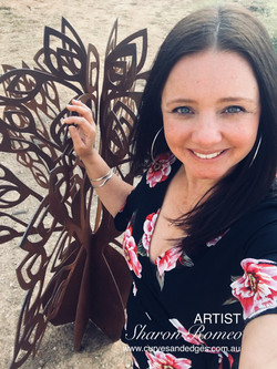 Artist Sharon Romeo with Tree of Life