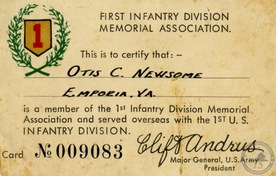 Newsome, Otis - WWII Document