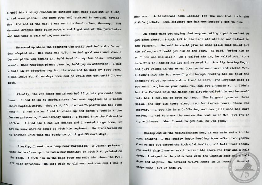 Argenbright, Frank A. - WWII Memoir