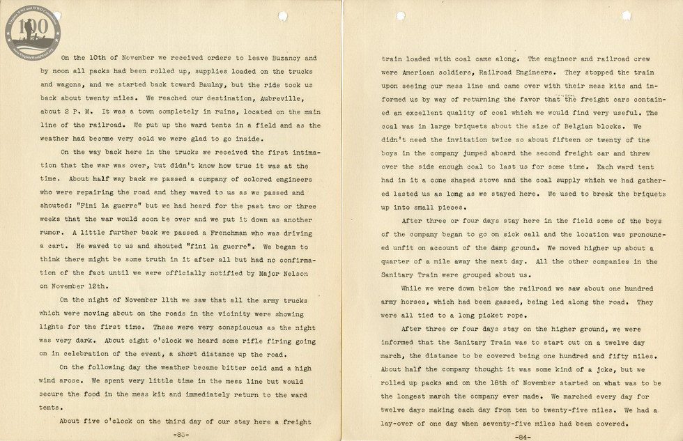 318th Field Hospital History - Pages 083-084