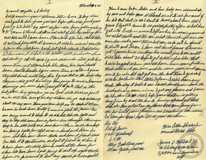 Mitchell, James T. - WWII Letter