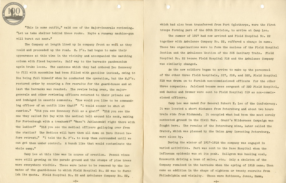 318th Field Hospital History - Pages 003-004