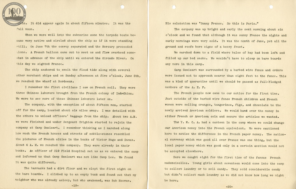 318th Field Hospital History - Pages 019-020