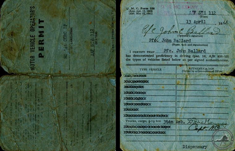 Ballard, John E. - WWII Document