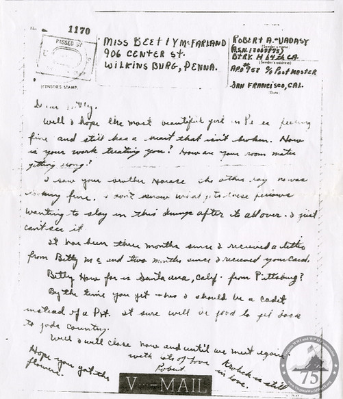 Vadasy, Robert - WWII Letter