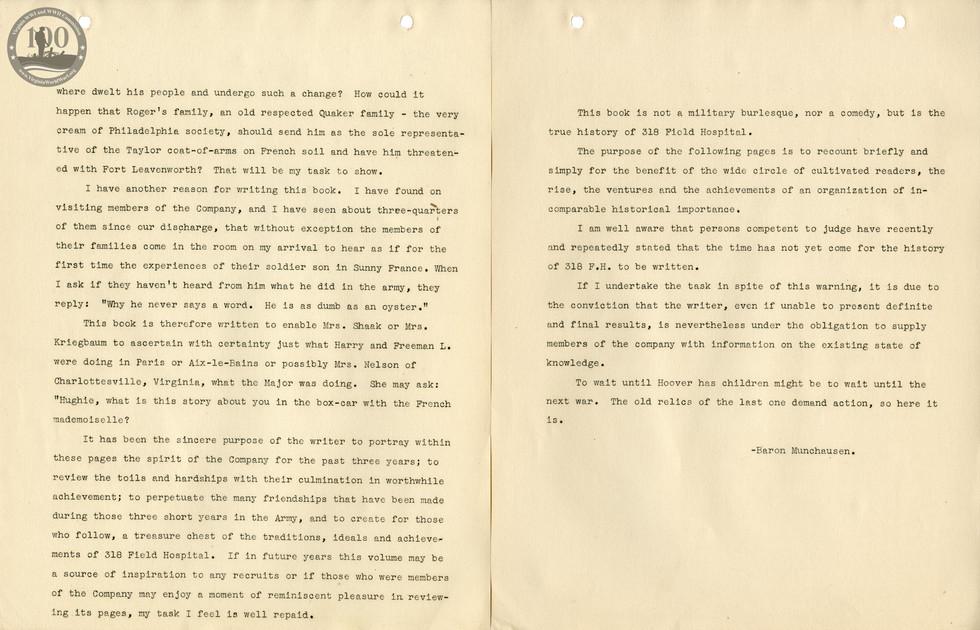 318th Field Hospital History - Intro & Preface 2-3