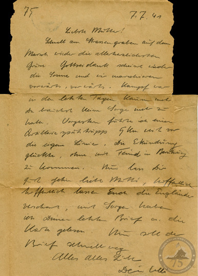 John Eaves World Wars Collection - WWII Letter