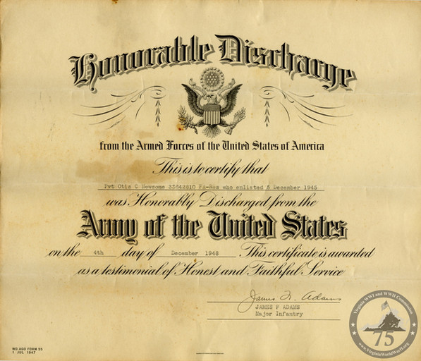 Newsome, Otis - WWII Document