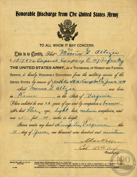 Altizer, Mervyn - WWI Document