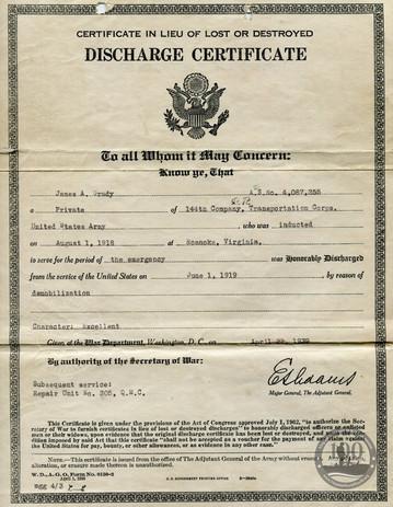 Grady, James A. - WWI Document