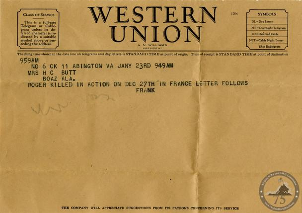 Butt, Roger N. - WWII Telegram