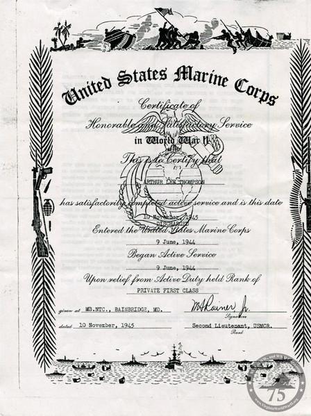 Thompson, Arthur Lee - WWII Document